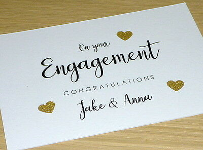 Engagement congratulations card - Personalised - black & gold - handmade