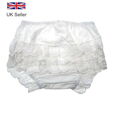 Baby Girls Frilly Knickers Pants, White Cotton Broderie Anglaise Nappy 0-18 M