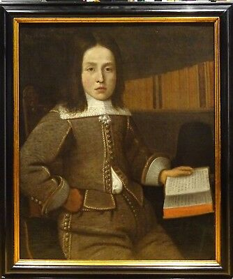 Fine 16th 17th Century Italian Old Master Boy & Book Portrait Antique Painting
