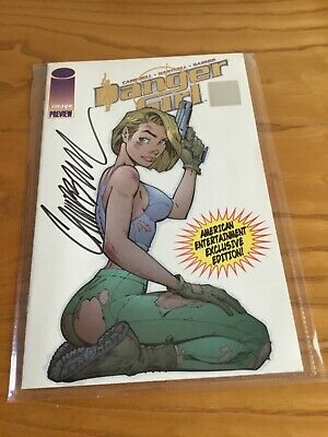 Danger Girl Preview Exclusive Gold Cover Signed By J.scott Campbell. Wizard Coa.