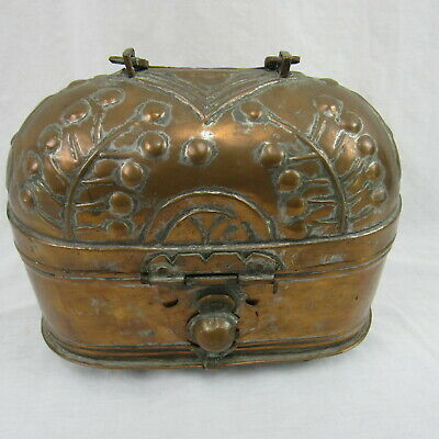 Antique hand made ornate wrought copper Container Keepsake