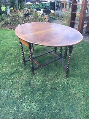 Antique Oak? Barley Twist Gate Leg Extending Table Large Shabby Chic Country