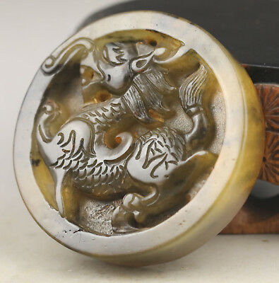 Old Chinese natural jade hand-carved dragon pendant  NO.G303