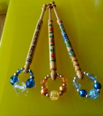 3 Wood Lace Bobbins 2 with Flowers & all with Lace Days.