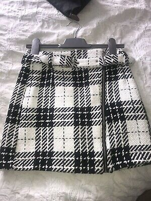 c8d7dd179d ZARA NEW TWEED Mini Skirt With Braces Pockets Buttons Frayed Hem ...