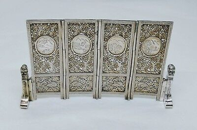 Antique Chinese/japanese Silver 4-Fold Shoji Screen, Engraved Scenes, C. 1890
