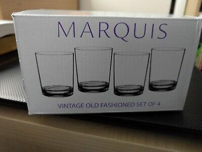 NEW Marquis by Waterford 9oz Vintage Double Whiskey Old Fashioned Set of 4