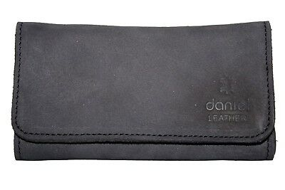 Genuine Leather Smoking Tobacco Pouch Pocket Case Black with Lining Zip Pocket