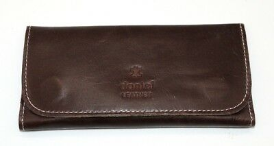 Soft Genuine Smoke Tobacco Pocket Pouch Case Real Leather Lining Crunch Brown