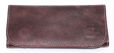 Soft Genuine Smoke Tobacco Pocket Pouch Case Real Vintage Purple Leather New