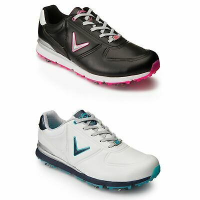 0fc736b264b NEW WOMENS ADIDAS Driver May Black White Leather Golf Shoes Trainers ...