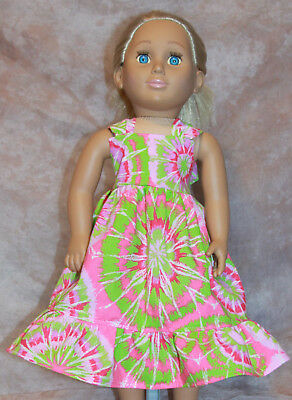 "Handmade 18"" Doll Clothes Pink & Green Tie Dye Dress Fits American Girl"