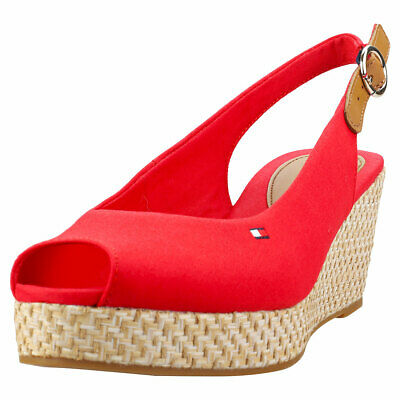 4223f10840b4d9 Tommy Hilfiger Iconic Elba Basic Sling Back Womens Red Textile Wedge Sandals