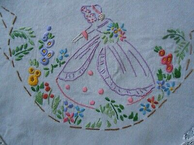 Beautiful Vintage Hand Embroidered Tablecloth Ideal For Arts And Crafts