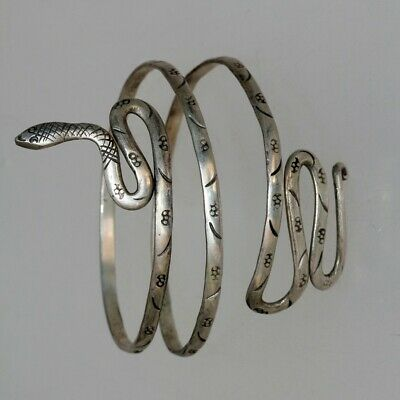 EXTREMELY RARE LATE MEDIEVAL CELTIC TYPE SILVER SNAKE BRACELET -29.88gr