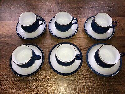 Denby Imperial Blue 6x Cups And Saucers
