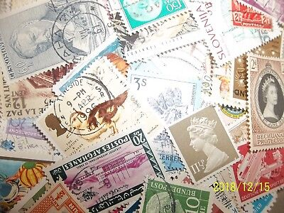100 different Worldwide stamps, new, old, mint, used, no duplicates or US