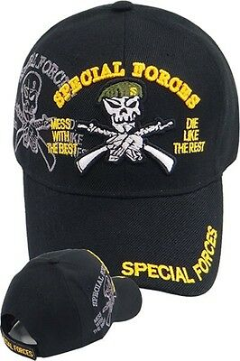 86ad908fd69b1 US Army SPECIAL FORCES Ball Cap Ranger Airborne Green Beret SHADOW Hat Black