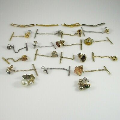 Tie Tacks & Parts | Multi-Stone Vintage Gold & Silver Plated | 23 Pieces | 65.3g