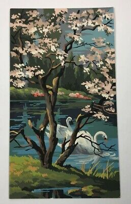 Vintage Paint By Numbers SWANS MOUNTAIN STREAM SPRINGTIME PAINTING 1960S Seasons