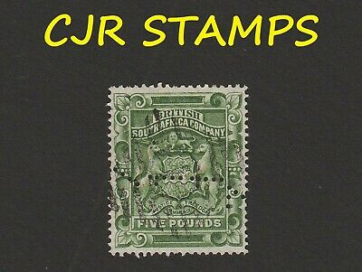 Rhodesia 1892  ₤5  Arms -    Fiscal  Revenue Usage With Forged Cancel   -   Fine