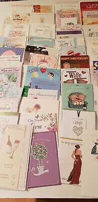 WHOLESALE joblot assorted ANNIVERSARY   GREETINGS CARDS and envelopes  X 50
