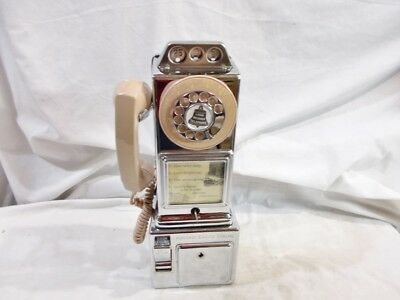 1957-1972 Automatic Electric Chrome 3-Slot Payphone with Beige Accents