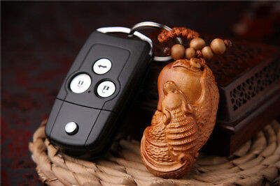 Wood 3D Carving Chinese Blessing Pixiu Pi YAO Statue Sculpture Pendant Key Chain