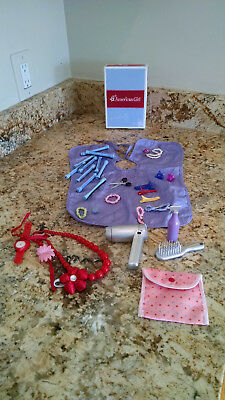 American Girl Doll Hair Care Cape Scissors Roller Brush Lot-33 Accesories Box