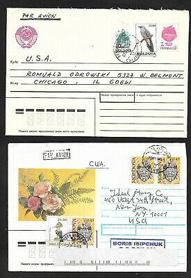 2  MOLDOVA  AIRMAIL COVERS to CHICAGO-1992-96 to NYC NICE, NEAT & CLEAN-- BIRDS