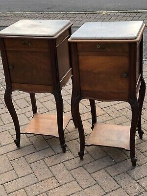 Antique French Marble Top Bedside Cabinets Matching Pair