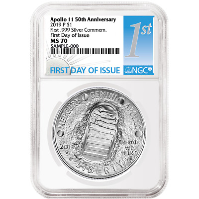 2019-P UNC $1 Apollo 11 50th Ann Silver Dollar NGC MS70 FDI First Label