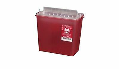 LOT OF 10 Plasti-Products 141020 5-Quart Sharps Container Horizontal Entry Red