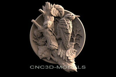3D Model STL for CNC Router Engraver Carving Artcam Aspire Bird Animal f516