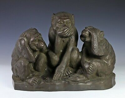 Very Large and Impressive Japanese Bronze Statue Sculpture of Three Monkeys