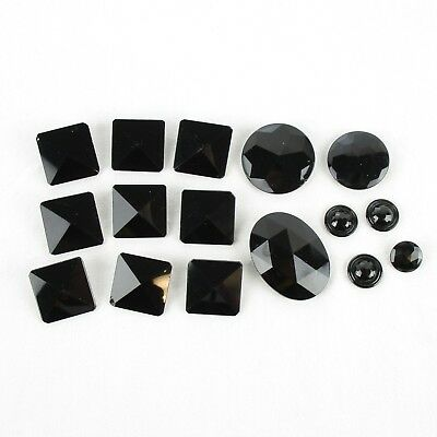 Lot of 14 Victorian Black Glass Shirt Buttons Vintage Miscellaneous
