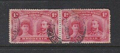 Rhodesia 1910 SG125 1d Red Used Pair