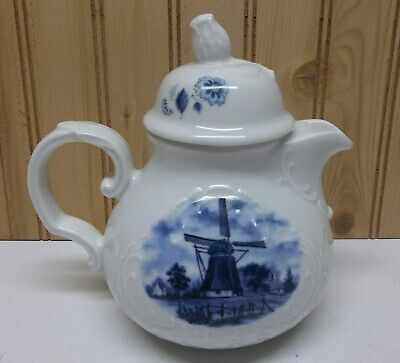 TER STEEGE BV HOLLAND WINDMILL DELFT BLUE Porcelain TEAPOT SHONWALD GERMANY
