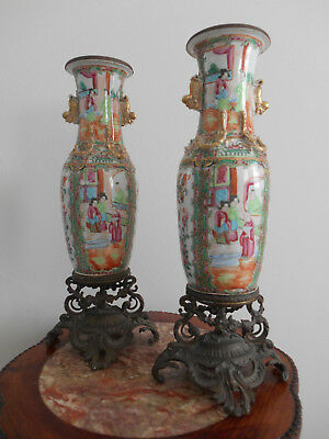 A pair of mounted canton vases with family figures - 19th century