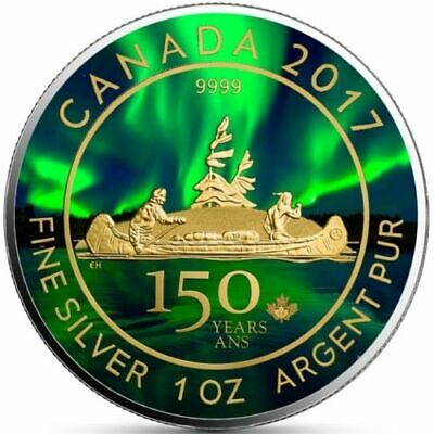 CANADA 2017 VOYAGEUR 1 Oz SILVER COLORIZED 150TH ANNIVERSARY