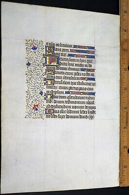 Unusually large Medieval Illuminated Book of Hours Manuscript Lf.Psalm121,c.1450