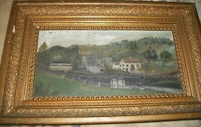Folk Art Painting of Farm House and Barns Oil on Canvas Framed 19th Cent