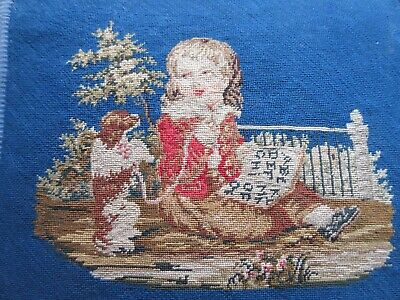 Antique Victorian William iv marquetry petit point footstool of child & spaniel