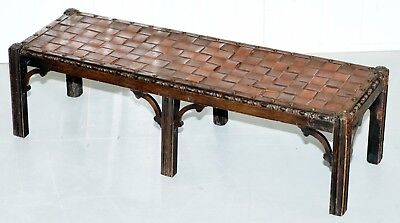 Small Early 19Th Century Leather Woven Bench Style Footstool Hand Carved Wood