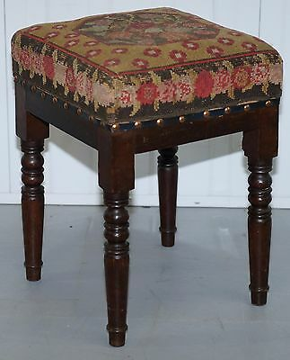Victorian Stained Pine Stool With Circa 1920 Needlepoint Kilim Upholstery Rare