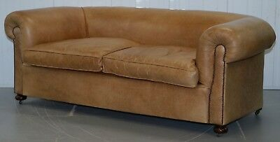 1 Of 2 Vintage Victorian Style Restored Brown Leather Club Sofas Coil Sprung