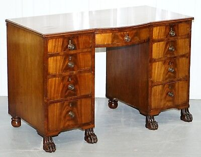 Exquisite Regency Period 1815 Mahogany Kneehole Desk With Lion Hairy Paw Feet