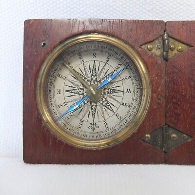 ANTIQUE GEORGIAN OR VICTORIAN WOODEN POCKET COMPASS c.1830-50 BIRMINGHAM RAILWAY