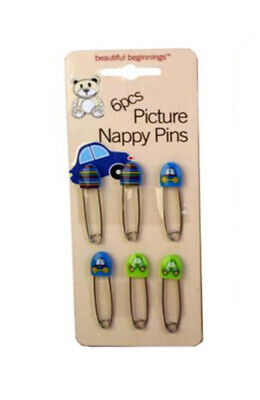 Beautiful Beginnings 6pc Decorated Baby Nappy Diaper Cloth Pins Safety Clip