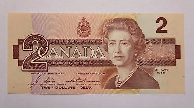 1986 Canada Two Dollar Banknote In Vf Condition